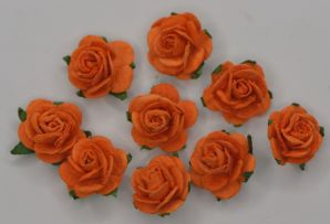 1.5cm ORANGE Mulberry Paper Roses (only flower head)